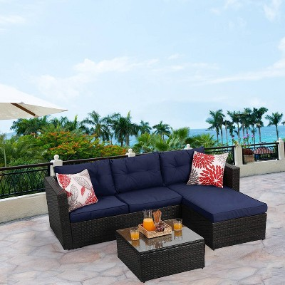 3pc outdoor rattan wicker furniture set blue captiva designs