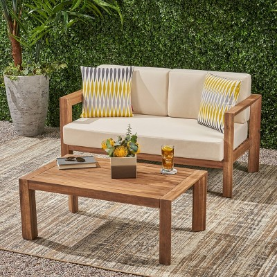 2pc genser wooden patio loveseat and coffee table set brown christopher knight home