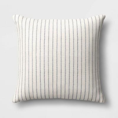 striped square throw pillow blue cream threshold