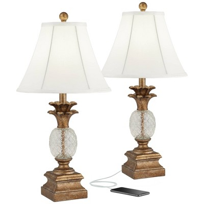 regency hill kona pineapple bronzed brass and textured glass usb table lamps set of 2