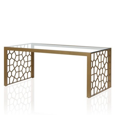juliette glass top coffee table with tempered glass brass cosmoliving by cosmopolitan