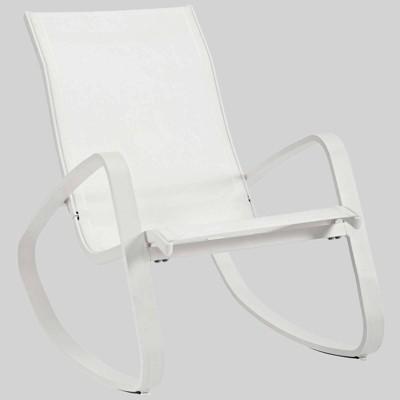 traveler rocking mesh sling patio lounge chair white modway