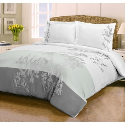 casual floral embroidered cotton duvet cover and pillow sham set king california king white blue nile mills