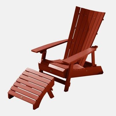 manhattan beach adirondack chair with ottoman rustic red highwood