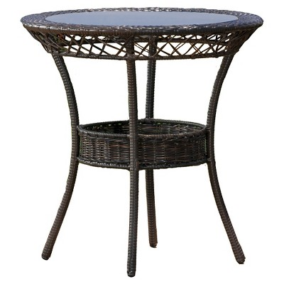 figi wicker 27 round glass patio dining table brown christopher knight home