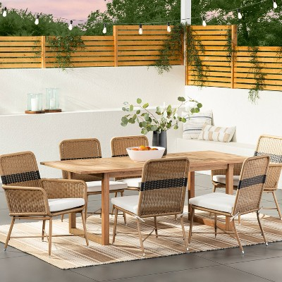 mapleton 2pk wicker metal armless patio dining chairs stripe threshold designed with studio mcgee