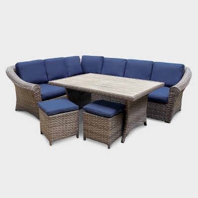 walton 7pc wicker patio sectional set navy leisure made