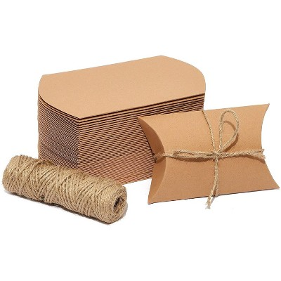 pillow gift boxes with jute string for party favors 5 x 3 5 in kraft paper 50 pack