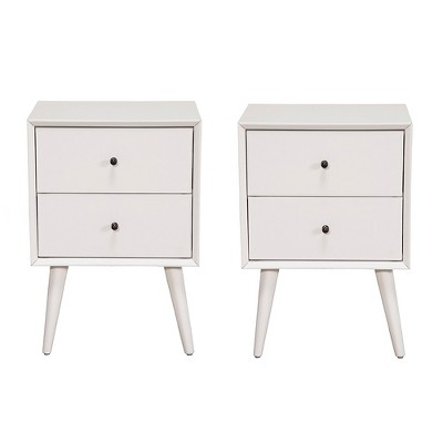 alpine furniture flynn mid century modern bedside nightstand white 2 pack