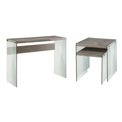 monarch contemporary glass accent console table glass end tables dark taupe