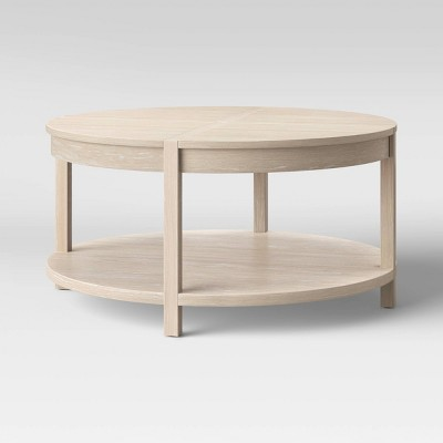 porto round wood coffee table bleached wood project 62