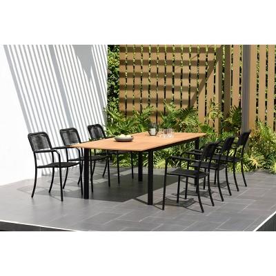 ana 7pc teak finish aluminum rectangular extendable patio dining set black amazonia