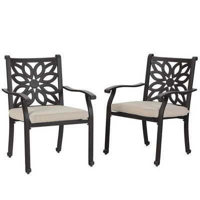 2pc outdoor cast aluminum extra wide dining chairs with armrests captiva designs