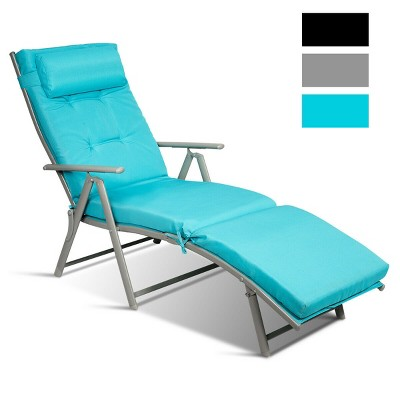 costway outdoor folding chaise lounge chair w cushion turquoise