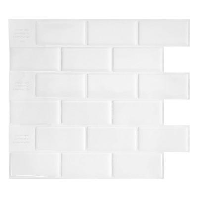 smart tiles 3d peel and stick backsplash 4 sheets of 10 95 x 9 70 kitchen and bathroom wallpaper subway white