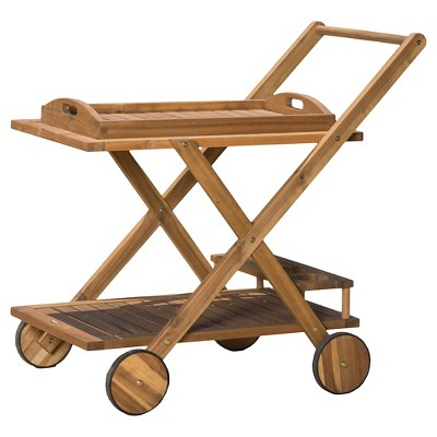 riviera acacia wood patio bar cart with tray natural christopher knight home