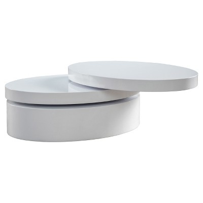 carson small oval rotatable coffee table glossy white christopher knight home