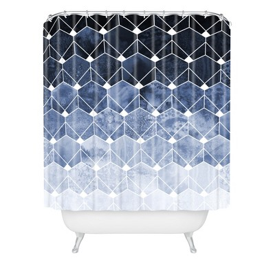 blue hexagons and diamonds shower curtain blue deny designs