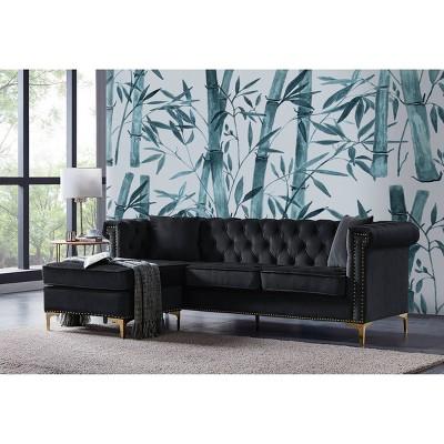 ohau left facing sectional sofa black chic home design