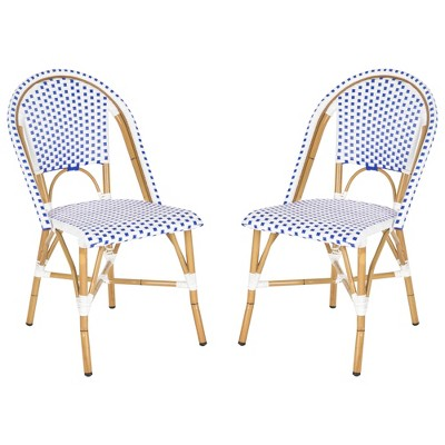 toulouse 2pc wicker patio side chair set blue white safavieh