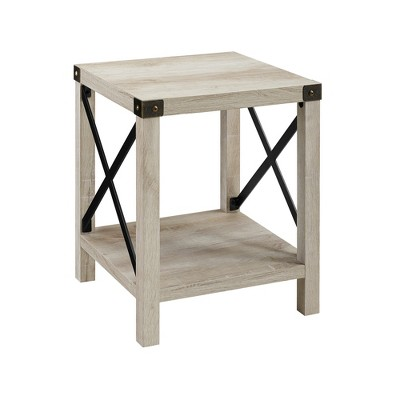 18 rustic farmhouse metal x frame side table with wood and metal white oak saracina home