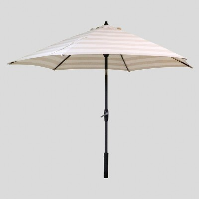 9 round cabana stripe patio umbrella duraseason fabric tan black pole threshold