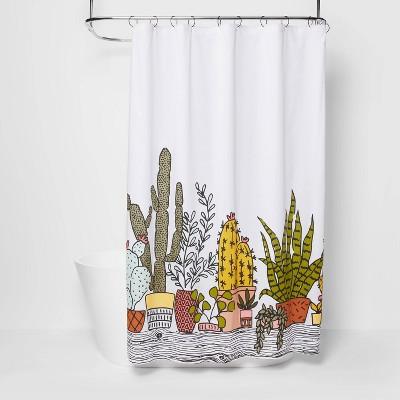 plants print shower curtain green room essentials