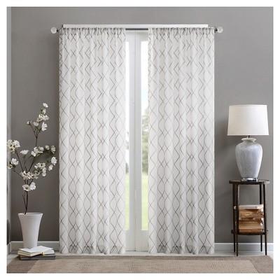 84 x50 clarissa diamond sheer curtain panel white gray