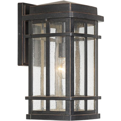 john timberland mission outdoor wall light fixture oil rubbed bronze 16 clear seedy glass for exterior house porch patio deck
