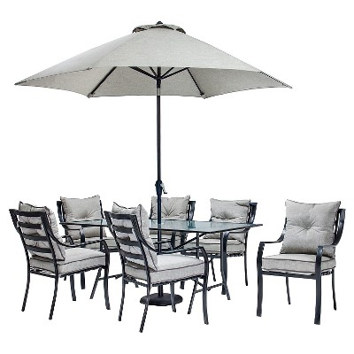 hanover lavallette 8pc outdoor dining set with table umbrella and base