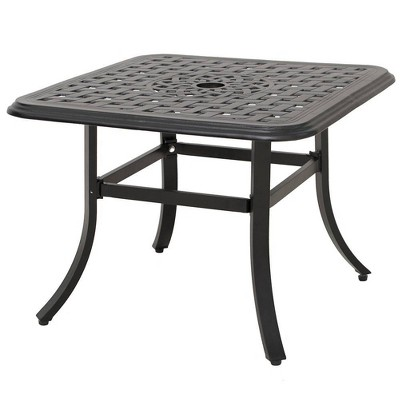 cast aluminum square patio side table with umbrella hole antique brown crestlive products