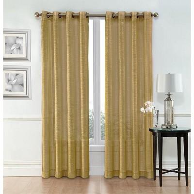goodgram whittier metallic sparkle semi sheer grommet curtain panels 54 in w x 84 in l gold