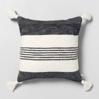 18 x 18 center stripes tassel throw pillow railroad gray hearth hand with magnolia