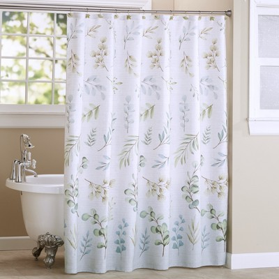 lakeside botanical leaves bathroom shower curtain with 12 ring grommet top