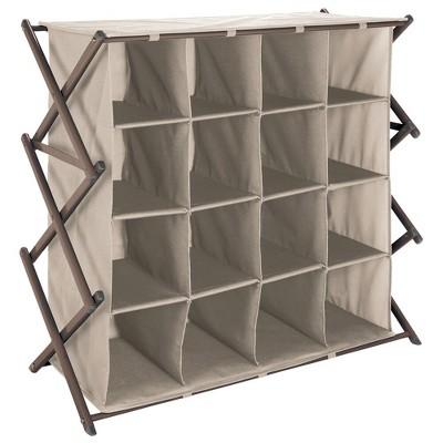 mdesign fabric shoe rack holder storage accordion frame 16 cube taupe bronze
