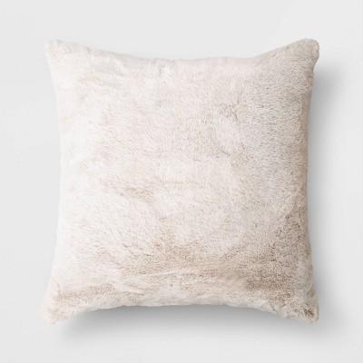 faux rabbit fur throw pillow threshold