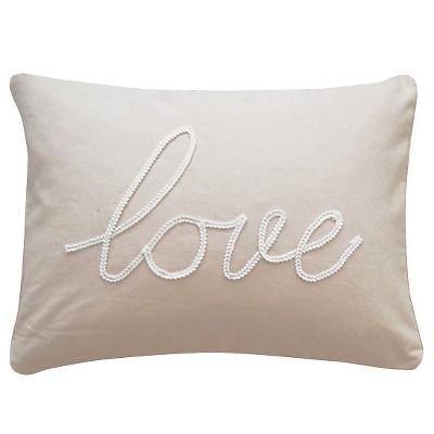 taupe love throw pillow 14 x 18 homthreads