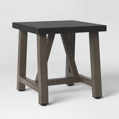 faux wood patio accent table with faux concrete tabletop smith hawken