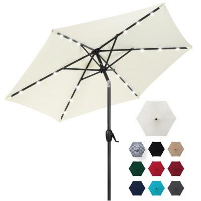 best choice products 7 5ft outdoor solar patio umbrella for deck pool w tilt crank led lights cream