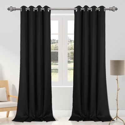 2 pcs 52 x 95 inch solid blockout thermal insulated grommet curtain panels black piccocasa