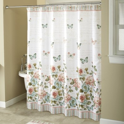 lakeside rose garden bathroom hanging shower curtain farmhouse floral accent