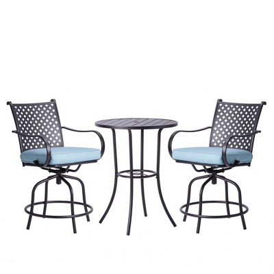 peaktop 3pc patio swivel bar height bistro set with cushions teamson