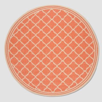6 7 round outdoor rug rust cream safavieh