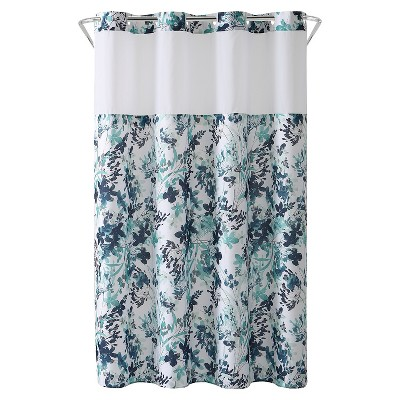 watercolor floral shower curtain with liner aqua hookless