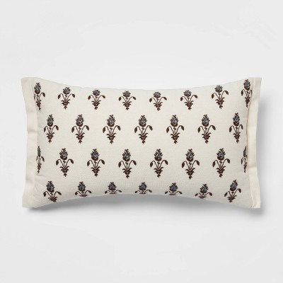 12 x20 floral embroidered lumbar throw pillow with beads cream blue threshold