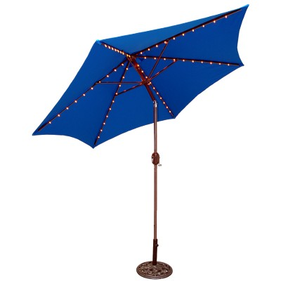 9 round lighted patio umbrella blue
