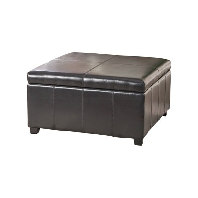 forrester bonded leather square storage ottoman espresso christopher knight home