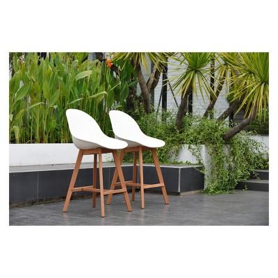 2pk metz eucalyptus patio barstool set brown finish amazonia
