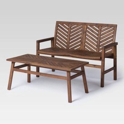 2pc chevron outdoor patio chat set dark brown saracina home
