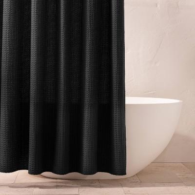 waffle shower curtain washed black casaluna